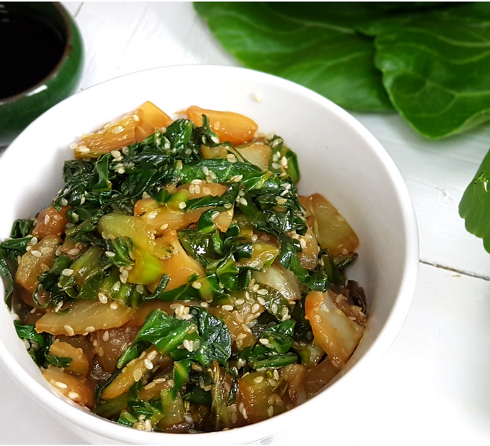 Pak choi con salsa Tamari | Bok choy o Col china