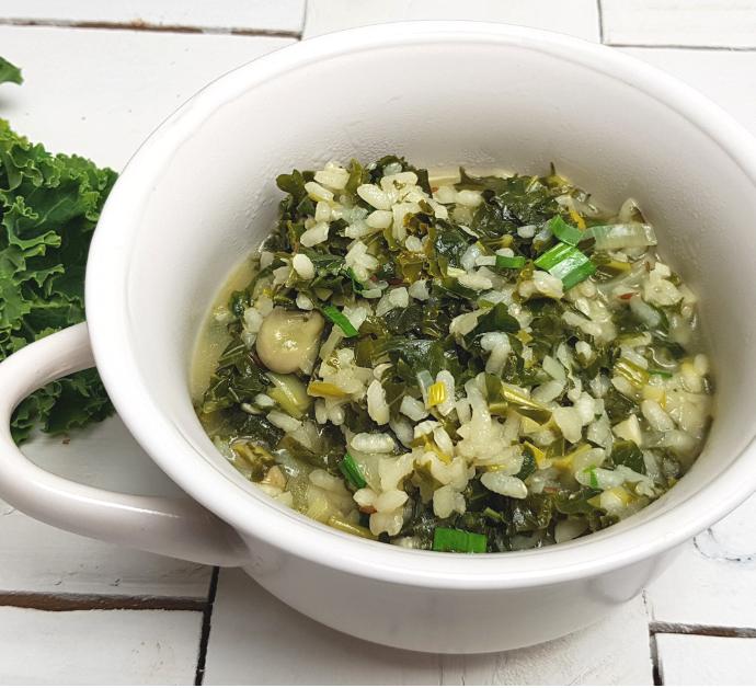 Arroz meloso con kale